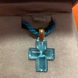❤️ Lalique Turquoise Cross Pendant - NIB